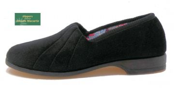 AUDREY' Ladies Velour Slippers with Rubber sole BLACK